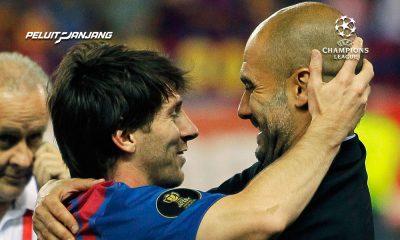 Lionel Messi dan Pep Guardiola (Kredit: Bleacher Report)