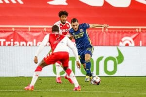 Rayan Cherki saat melawan Monaco